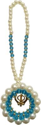 Premang Decors Golden Khanda encircled in Pearls(Sky Blue) Car Hanging Ornament(Pack of 1)