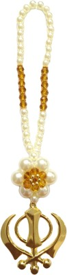 Premang Decors Golden Khanda in Pearl Flower(Camel) Car Hanging Ornament