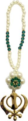 Premang Decors Golden Khanda in Pearl Flower (green) Car Hanging Ornament(Pack of 1)