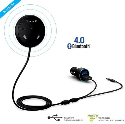 Zaap v4.0 Car Bluetooth Device with USB Cable, 3.5mm Connector(Black)
