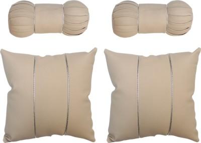 Vheelocityin Beige Cotton Car Pillow Cushion for Honda