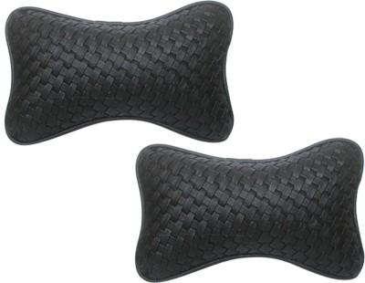 Vheelocityin Black Leatherite Car Pillow Cushion for Mahindra