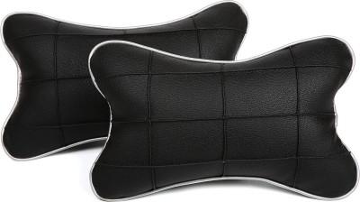 Pegasus Premium Black, Black Leatherite Car Pillow Cushion for Universal For Car(Rectangular, Pack of 2)
