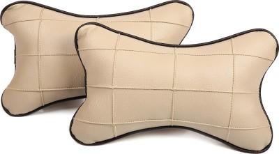 Pegasus Premium Beige, Black Leatherite Car Pillow Cushion for Universal For Car