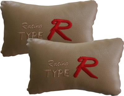 Type R Beige Leatherite Car Pillow Cushion for Mahindra, Hyundai, Toyota, Ford, Tata, Renault, Datsun, Chevrolet, Maruti