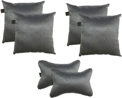 Lushomes Grey Polyester Car Pillow Cushion for Universal For Car(Square, Pack of 6)