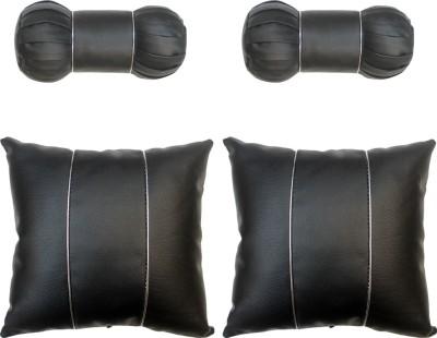 Vheelocityin Black Cotton Car Pillow Cushion for Skoda(Rectangular, Pack of 4)