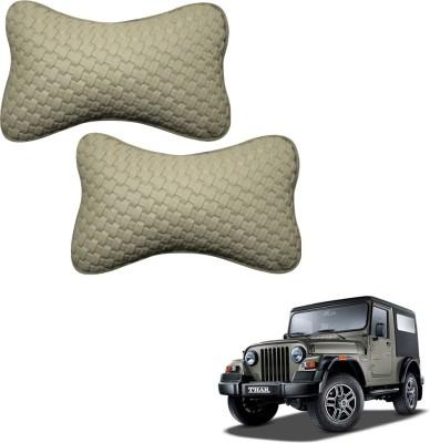 Vheelocityin Beige Leatherite Car Pillow Cushion for Mahindra