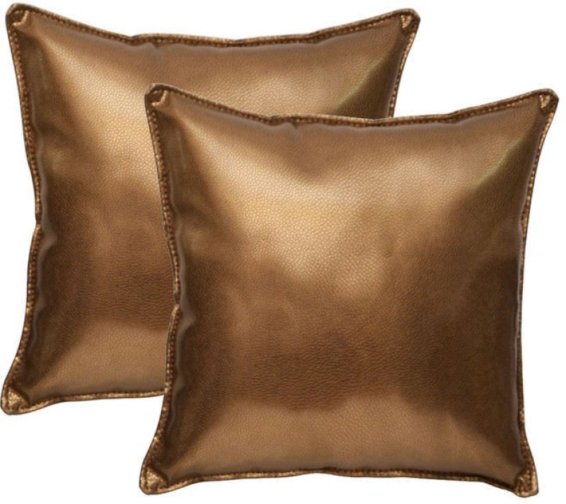 Challenger Gold Leatherite Car Pillow Cushion for Universal For Car(Square, Pack of 2)
