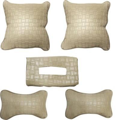 Vheelocityin Beige Leatherite Car Pillow Cushion for Ford