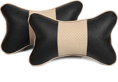 Pegasus Premium Black, Beige Leatherite Car Pillow Cushion for Universal For Car