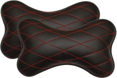 Challenger Black, Red Leatherite Car Pillow Cushion for Universal For Car