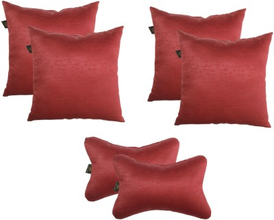 Lushomes Red Polyester Car Pillow Cushion for Universal For Car(Square, Pack of 6)