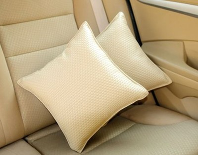 Auto Pearl Beige Leatherite Car Pillow Cushion for Universal For Car