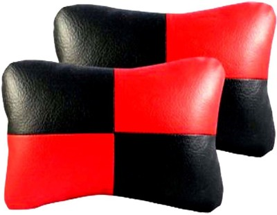 AutoCarWinner Black, Red Leatherite Car Pillow Cushion for Universal For Car
