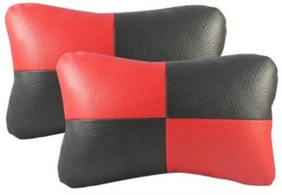 AutoStark Red, Black Leatherite Car Pillow Cushion for Universal For Car