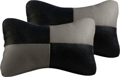 AutoKraftZ Grey, Black Leatherite Car Pillow Cushion for Universal For Car(Rectangular, Pack of 2)