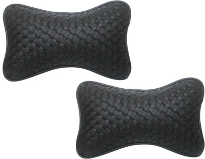 Vheelocityin Black Leatherite Car Pillow Cushion for Skoda