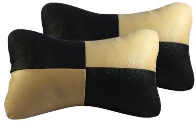 Vheelocityin Black, Beige Leatherite Car Pillow Cushion for Universal For Car