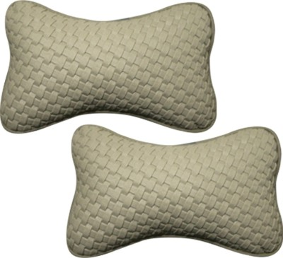 Vheelocityin Beige Leatherite Car Pillow Cushion for Toyota