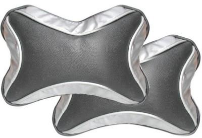 Vheelocityin Black, Silver Leatherite Car Pillow Cushion for Universal For Car
