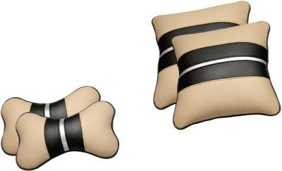 Challenger Beige, Black, Silver Leatherite Car Pillow Cushion for Universal For Car