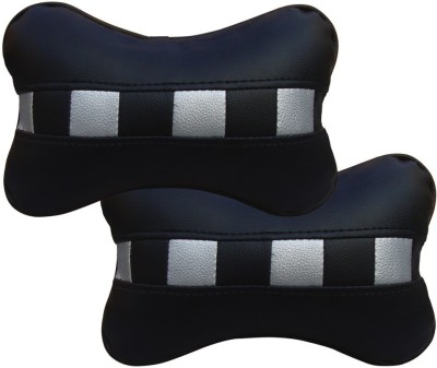 Auto Pearl Black, White Leatherite Car Pillow Cushion for Renault