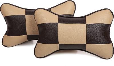 Pegasus Premium Beige, Black Leatherite Car Pillow Cushion for Universal For Car(Rectangular, Pack of 2)