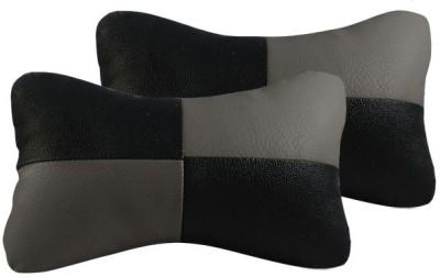 Vheelocityin Black, Grey Leatherite Car Pillow Cushion for Universal For Car