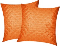 Zikrak Exim Checkered Cushions Cover(Pack of 2, 50 cm*50 cm, Orange)