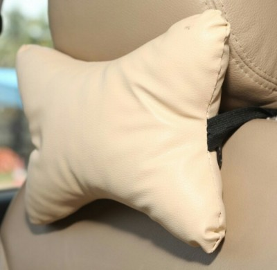 ElectriBles Beige Leatherite Car Pillow Cushion for BMW