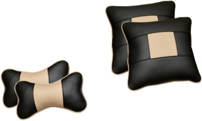 Challenger Black, Beige Leatherite Car Pillow Cushion for Universal For Car