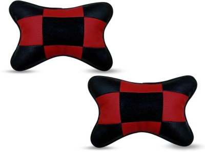 Auto Pearl Red, Black Leatherite Car Pillow Cushion for Mahindra