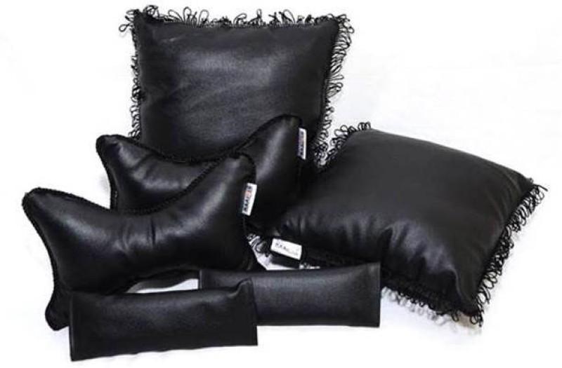 Raaisin Black Leatherite Car Pillow Cushion for Maruti Suzuki(Rectangular, Pack of 6)