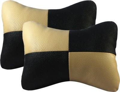 AutoKraftZ Black, Beige Leatherite Car Pillow Cushion for Universal For Car