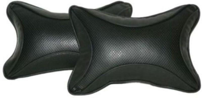 Retina Black Leather Car Pillow Cushion for Tata(Rectangular, Pack of 2)