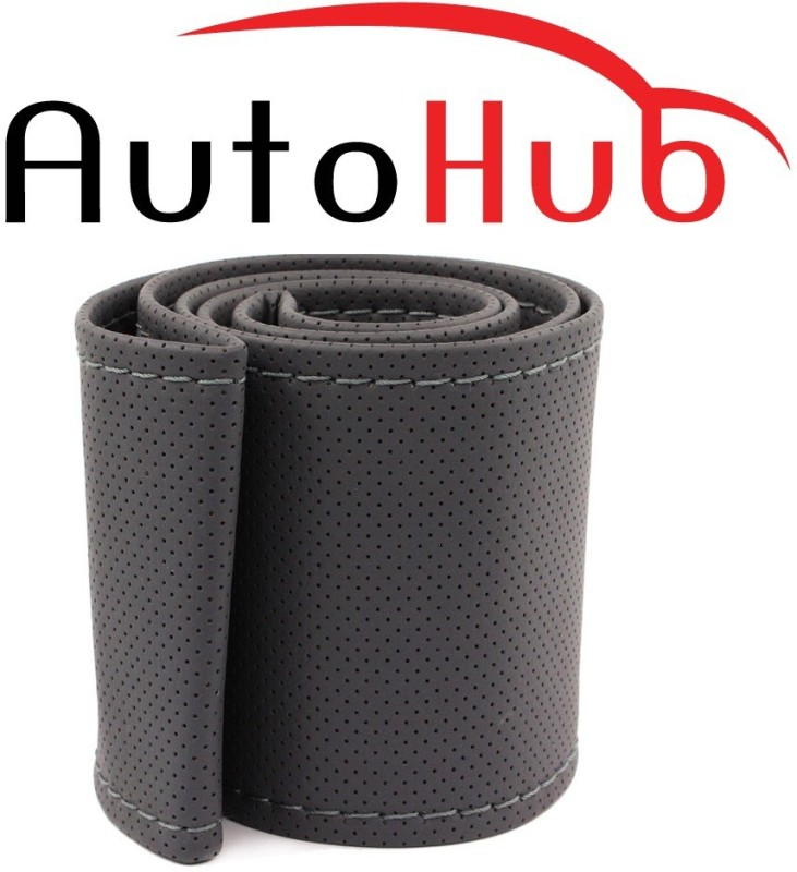Auto Hub Hand Stiched Steering Cover For Honda CR-V(Grey, Leatherite)
