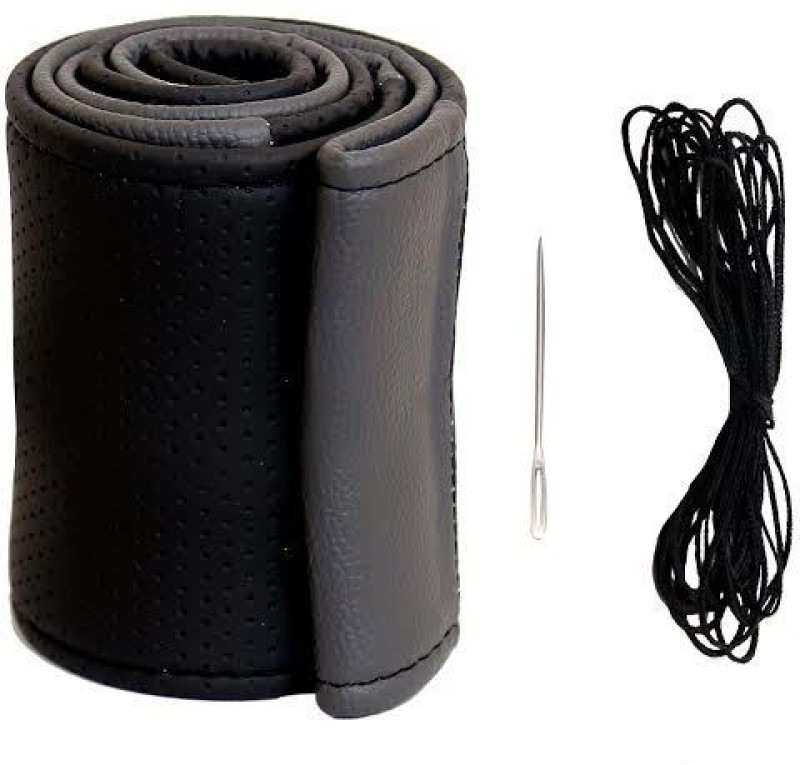 AutoGarh Hand Stiched Steering Cover For Maruti Vitara(Black, Grey, Leather)