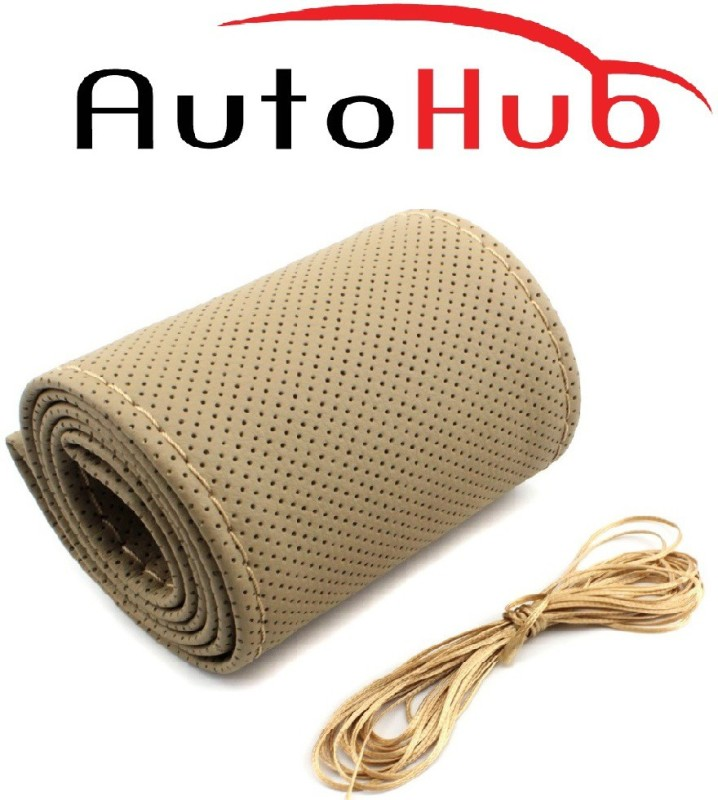 Auto Hub Hand Stiched Steering Cover For Tata Bolt(Beige, Leatherite)