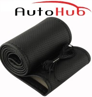 Auto Hub Hand Stiched Steering Cover For Honda Jazz(Black, Leatherite)