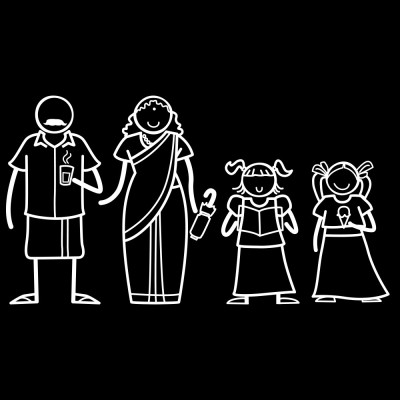 The Indian Family Sticker Family Sticker for Windows, Bumper, Sides
