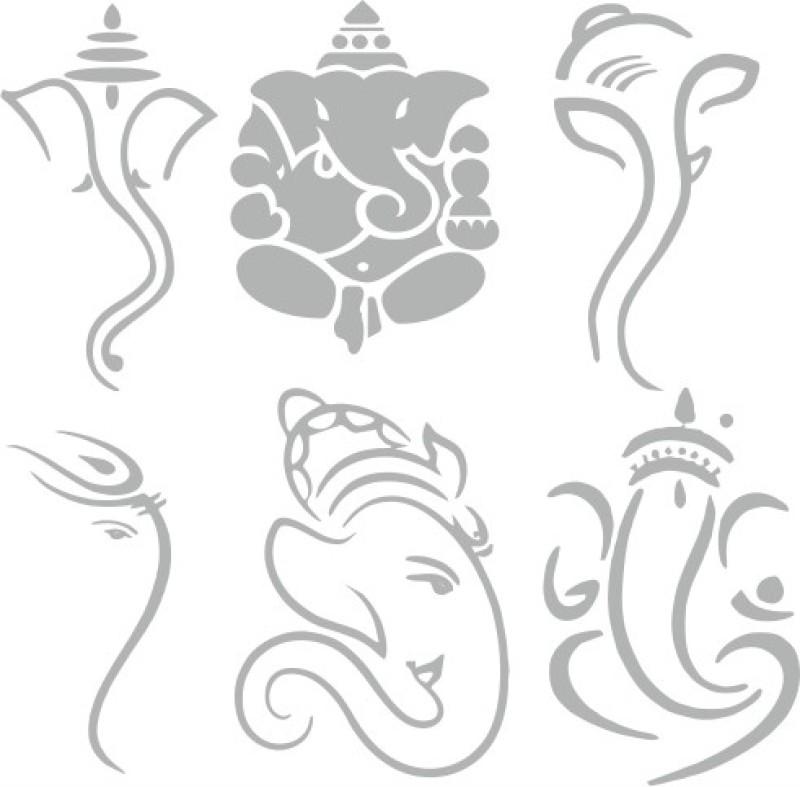 God Ganesh Racing Sticker for Bumper, Hood, Windows(Silver)