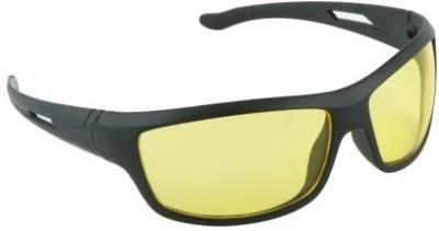 OMRD Day and Night Vision Wrap-around Sunglasses Black Car Sunglass Clip Holder