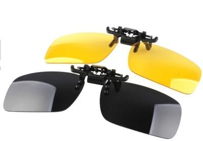 ROYALDEALSHOP 2 Piece Day (Black) & Night (Yellow) Vision Polarized Clip-on Flip-up Driving Sunglasses Yellow, Black Car Sunglass Clip Holder