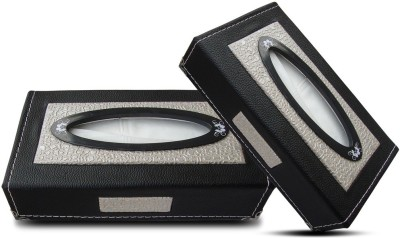 Auto Pearl Premium Quality Paper with Box - Black Beige Croc - 200 Sheets (100 Pulls) - Set of 2Pcs Vehicle Tissue Dispenser