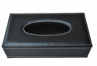 Shopaddict Tissue Box in Pu Leatherette Black in color For Car Vehicle Tissue Dispenser