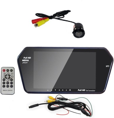 TRUELINKS 7 Inch Rear view miror with revers parking camera Black LED(17.78 cm)