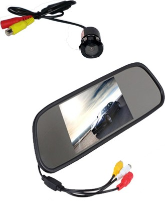 AutoParx 4.3 Digital Tft Lcd Screen Rearview Mirror Monitor Car Reverse with night vision Camera Black LED