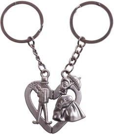 Ezone Stylic Pyaar Love Couple Spring Gate Key Chain(Silver)