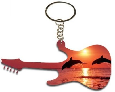 Onlineworld Guitar Shape Wood -04 Key Chain